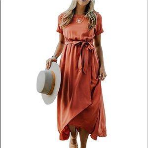 Short sleeve, mock wrap dress rust, size L